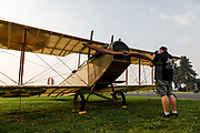 Photographer with Curtiss JN-4D at 2017 Hood River Fly-In.