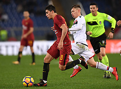 ROME, Dec. 17, 2017  Roma's Diero Perotti (L) competes with Cagliari's Nicolo Barella during a Serie A soccer match between Roma and Cagliari in Roma, Italy, Dec. 16, 2017. Roma won 1-0. (Credit Image: © Alberto Lingria/Xinhua via ZUMA Wire)