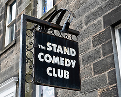 Sign outside The Stand Comedy Club on Queen Street Edinburgh , Scotland, UK