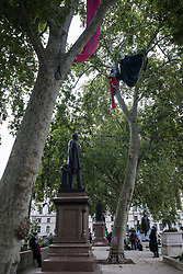 London, UK. 3rd September, 2020. Anti-HS2 activists from HS2 Rebellion continue to occupy trees in Parliament Square. HS2 Rebellion activists are attending Extinction Rebellion's September Rebellion protests in London to call on the government to cancel the controversial HS2 high-speed rail link on the grounds of its hugely detrimental environmental impact and its estimated £106bn cost.