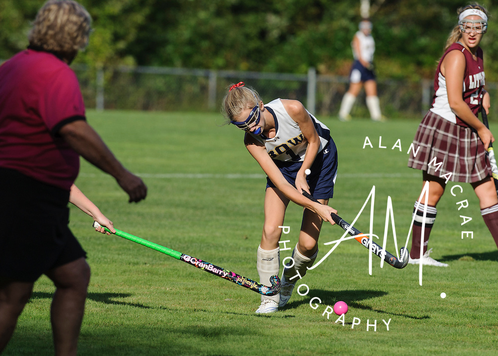 Bow's Claire Mulvaney moves the ball towards the goal in Friday's match against Littleton at Bow High School.  (Alan MacRae/for the Monitor)