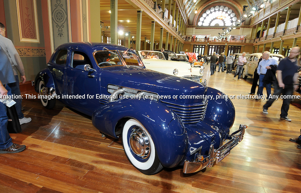 1937 Cord 812 Westchester Sedan.RACV Motorclassica.The Australian International Concours d'Elegance & Classic Motor Show.Royal Exhibition Building .Carlton, Melbourne, Victoria.October 22nd 2011.(C) Joel Strickland Photographics.Use information: This image is intended for Editorial use only (e.g. news or commentary, print or electronic). Any commercial or promotional use requires additional clearance.