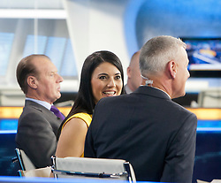 Jim White and Natalie Sawyer at the Sky Sports TV studio for the transfer Deadline Day show. Pic taken as the deadline time ended..© Michael Schofield.....