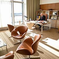Peter Thomson in his office between meetings.