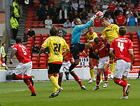 Photo: Steve Bond/Richard Lane Photography.<br />Nottingham Forest v Watford. Coca-Cola Football League Championship. 23/08/2008. Forest keeper Paul Smith punches under pressure