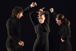 "© Licensed to London News Pictures. 23/06/2015. London, UK. Dancers Angel Muñoz, Charo Espino and Carmen Rivas ""La Talegona"" performing Martinete. Paco Peña Dance Company perform the UK premiere of ""Flamencura"" at Sadler's Wells Theatre. The flamenco show runs from 20 to 28 June 2015 and features six musicians and three dancers.Photo credit: Bettina Strenske/LNP"