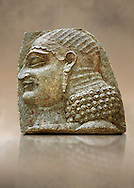Stone relief sculptured panel of a Servant. From the facade of the throne room,  Inv AO 22196 from Dur Sharrukin the palace of Assyrian king Sargon II at Khorsabad, 713-706 BC.  Louvre Museum Room 4 , Paris .<br /> <br /> If you prefer to buy from our ALAMY PHOTO LIBRARY  Collection visit : https://www.alamy.com/portfolio/paul-williams-funkystock/ancient-assyria-antiquities.html  Refine search by adding background colour, place, subject, museum etc into the LOWER SEARCH WITHIN GALLERY box to <br /> <br /> Visit our ANCIENT WORLD PHOTO COLLECTIONS for more photos to download or buy as wall art prints https://funkystock.photoshelter.com/gallery-collection/Ancient-World-Art-Antiquities-Historic-Sites-Pictures-Images-of/C00006u26yqSkDOM