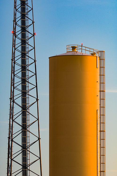 Grain tower, evening light, Octiober, Palouse Hills wheatlands, WA, USA