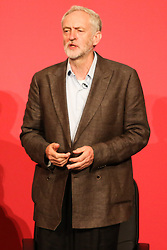 © Licensed to London News Pictures. 18/07/2015. Brighton, UK. Jeremy Corbyn MP answers questions from the public at the Hustings event in Brighton's Metropole Hotel for the Labour Party Leader position alongside Liz Kendal, Andy Burnham and Yvette Cooper on Saturday July 18th. Photo credit : Hugo Michiels/LNP