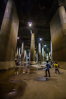 GCANS Metropolitan Area Outer Underground Discharge Channel  is an underground water flood control project is the largest underground flood water diversion facility in the world.   The facility was built to control the overflow of Tokyo's rivers during rain and monsoon seasons.  GCANS has five giant containment silos connected with six kilometers of tunnels.  Its most famous feature is the large holding tank cistern with giant pillars that resemble an underground cathedral or temple . The main job of GCANS is to store then divert overflow of water into the Edo River to avoid flood damage.