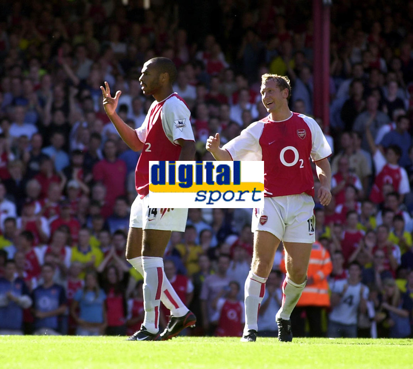 Picture: Henry Browne<br />Date: 13/09/2003<br />Arsenal v Portsmouth  FA Barclaycard Premiership<br /><br />Thierry Henry tells Portsmouth Keeper Shaka Hislop that he'll have a third go after he scores from the spot for a second time