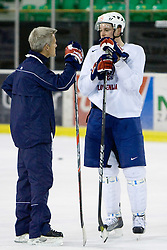 Head coach John Harrington and Jan Urbas at third practice of Slovenian National Ice hockey team before World championship of Division I - group B in Ljubljana, on April 6, 2010, in Hala Tivoli, Ljubljana, Slovenia.  (Photo by Vid Ponikvar / Sportida)