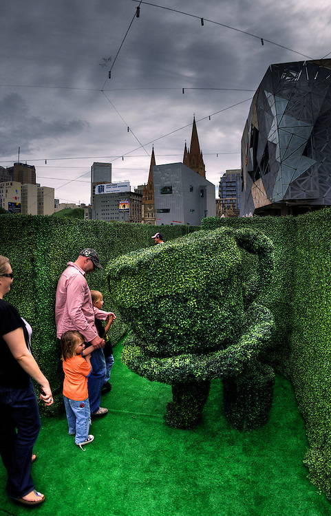Hedge Maze at Federation Square for school holidays. Pic By Craig Sillitoe CSZ/The Sunday Age.9/4/2011 melbourne photographers, commercial photographers, industrial photographers, corporate photographer, architectural photographers, This photograph can be used for non commercial uses with attribution. Credit: Craig Sillitoe Photography / http://www.csillitoe.com<br /> <br /> It is protected under the Creative Commons Attribution-NonCommercial-ShareAlike 4.0 International License. To view a copy of this license, visit http://creativecommons.org/licenses/by-nc-sa/4.0/.