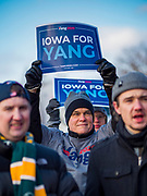 10 DECEMBER 2019 - DES MOINES, IOWA: Supporters of Andrew Yang wait in the cold in front of the Iowa State Capitol for Yang to arrive at the kickoff of his bus tour. The temperature at the time was about 20F. Yang, an entrepreneur, is running for the Democratic nomination for the US Presidency in 2020. He kicked off a five day bus tour today at the Iowa State Capitol in Des Moines. Iowa hosts the the first election event of the presidential election cycle. The Iowa Caucuses will be on Feb. 3, 2020.          PHOTO BY JACK KURTZ