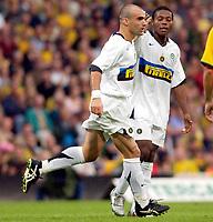 Photo: Daniel Hambury.<br /> Norwich City v Inter Milan. Pre Season Friendly.<br /> 29/07/2005.<br /> Inter's Lampros Choutos celebrates his goal.