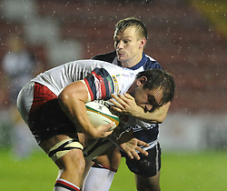 Bristol Rugby's Dwayne Peel makes a tackle - Photo mandatory by-line: Dougie Allward/JMP - Mobile: 07966 386802 - 07/11/2014 - SPORT - Basketball - Bristol - Ashton Gate - Bristol Rugby v Doncaster Knights - Greene King IPA Championship