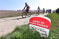 Illustration Coble Stones, Pave de la Rosee / KRISTOFF Alexander (NOR)/SMUKULIS Gatis (LAT)/ HALLER Marco (AUT)/ PAOLINI Luca (ITA)/ PORSEV Alexander (RUS)/ Team Katusha (Rus)/ Landscape during training on april 9 prior to the famous cycling race Paris Roubaix with paving stones paths which will take place on april 12, 2015 - Photo Tim de Waele / DPPI