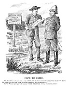 """Cape to Cairo. Mr C-c-l Rh-d-s (The """"practical man""""). """"Then, Sir, may I take it for granted that you have no objection to our line running through your property?"""" Kaiser William (quite equal to the occasion). """"None whatever. For a consideration."""""""