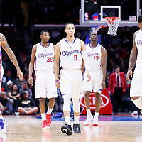 03 December 2014: Los Angeles Clippers forward Matt Barnes (22), Los Angeles Clippers guard C.J. Wilcox (30), Los Angeles Clippers guard Jared Cunningham (9), Los Angeles Clippers forward Ekpe Udoh (13), Los Angeles Clippers forward Glen Davis (0) during the Los Angeles Clippers 114-86 victory over the Orlando Magic, at the Staples Center, Los Angeles, California, USA.
