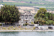 Israel, Galilee, Church of the Primacy of St Peter in Tabgha as seen from the Sea of Galilee