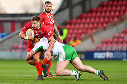 11th November 2018 , Racecourse Ground,  Wrexham, Wales ;  Rugby League World Cup Qualifier,Wales v Ireland ; Jake Emmitt of Wales is tackled by Michael Ward of Ireland <br /> <br /> <br /> Credit:   Craig Thomas/Replay Images
