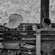 These two ladies were deeply engrossed in conversation in Fort Tryon Park.  The big hat on the lady to the right made this shot too tempting to pas up.