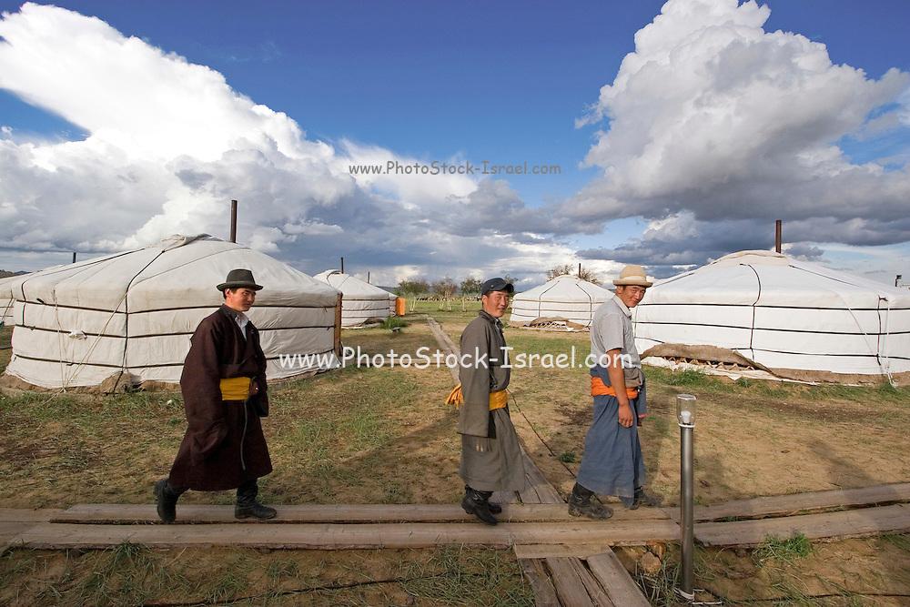 Mongolian people and Gers in Ulan Bator