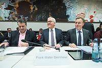 11 FEB 2017, BERLIN/GERMANY:<br /> Sigmar Gabriel, SPD, Bundesaussenminister, Frank-Walter Steinmeier, SPD, Kandidat fuer das Amt des Bundespraesidenten, Thomas Oppermann, SPD Fraktionsvorsitzender, (v.L.n.R.), vor Beginn der SPD Fraktionssitzung am Vortag der Bundesversammlung, Reichstagsgebaeude, Deutscher Bundestag<br /> IMAGE: 20170211-02-049