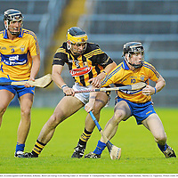 15 September 2012; Tony Kelly, Clare, in action against Geoff Brennan, Kilkenny. Bord Gáis Energy GAA Hurling Under 21 All-Ireland 'A' Championship Final, Clare v Kilkenny, Semple Stadium, Thurles, Co. Tipperary. Picture credit: Diarmuid Greene / SPORTSFILE