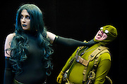 Madame Hydra (Laura Benson, 25 originaly from Brisbane (Aus), but now London - LolainProgressCosplay on FB) deals with Bob, Agent of Hydra (Keiran Kerigan, 26 from London - he is also a photographer and artist - SoSayWeAllFaramon on FB). London Film and Comic Con 2014, (LFCC), at Earls Court, London, UK.