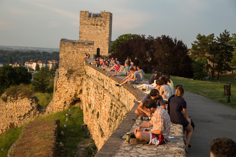 A view of the Danube and Sava Rivers' confluence in Belgrade, Serbia as seen from Kalemegdan Fortress. Locals and tourists alike sitting on the fortress walls at sunset.<br /> <br /> Matt Lutton for the European Commission