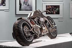 """Kyle Shorey's custom S&S Evo in Michael Lichter's Motorcycles as Art annual exhibition titled """"The Naked Truth"""" at the Buffalo Chip Gallery during the 75th Annual Sturgis Black Hills Motorcycle Rally.  SD, USA.  August 4, 2015.  Photography ©2015 Michael Lichter."""