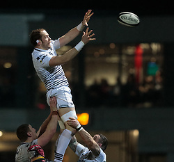 Ospreys' Alun Wyn Jones claims the lineout<br /> <br /> Photographer Simon King/Replay Images<br /> <br /> Guinness Pro14 Round 12 - Dragons v Cardiff Blues - Sunday 31st December 2017 - Rodney Parade - Newport<br /> <br /> World Copyright © 2017 Replay Images. All rights reserved. info@replayimages.co.uk - http://replayimages.co.uk