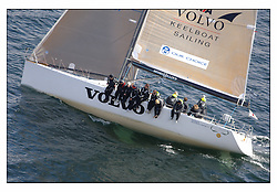 The third days racing at the Bell Lawrie Yachting Series in Tarbert Loch Fyne ..Perfect conditions finally arrived for competitors on the three race courses...Shirley Robertson, Alex Thompson and the Youth team on the Volvo RYA Keelboat programme Farr 45 John Merricks.( GBR 5955T ).