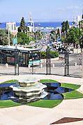 Israel, Haifa, Mount Carmel, the gardens around the Bahai Shrine of the Bab. The port in the background