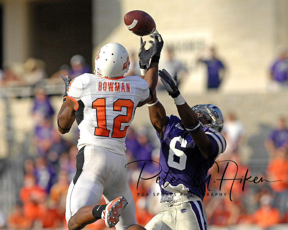 Kansas State defensive back Byron Garvin (6) brakes up a pass to Oklahoma State wide receiver Adarius Bowman (12) late in the fourth quarter at Bill Snyder Family Stadium in Manhattan, Kansas, October 7, 2006.  The Wildcats beat the Cowboys 31-27.<br />