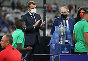 French President Emmanuel Macron, President of French Football Federation (FFF) Noel Le Graet during the trophy ceremony following the French Cup final football match between Paris Saint-Germain (PSG) and AS Saint-Etienne (ASSE) on Friday 24, 2020 at the Stade de France in Saint-Denis, near Paris, France - Photo Juan Soliz / ProSportsImages / DPPI
