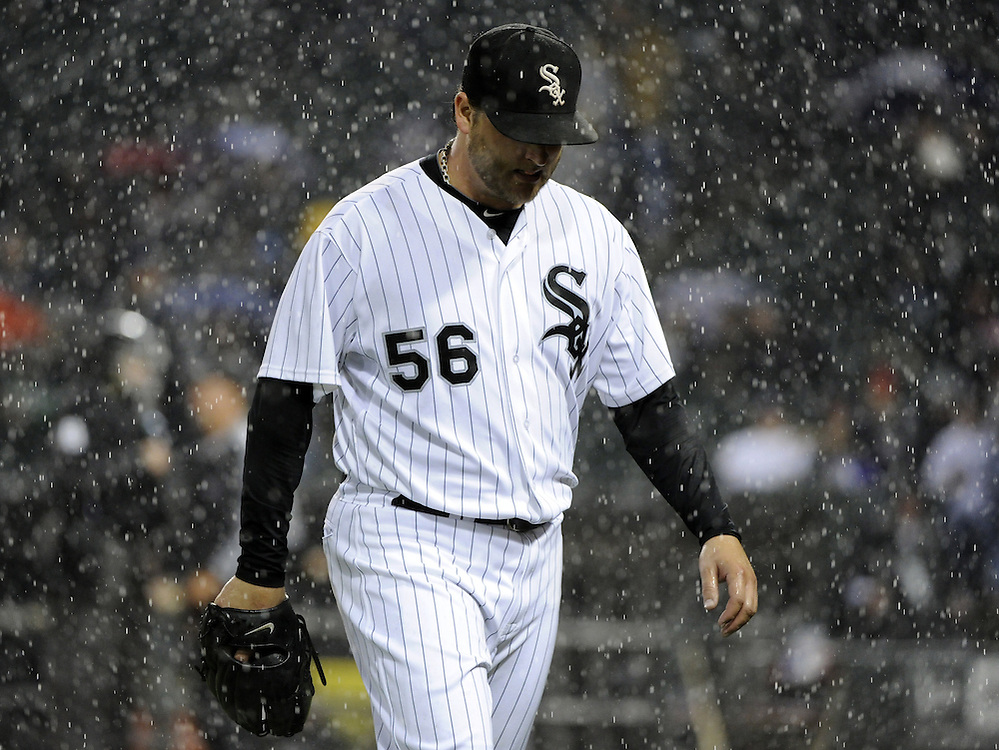 CHICAGO - SEPTEMBER 27:  Mark Buehrle #56 of the Chicago White Sox walks toward the dugout during the game against the Toronto Blue Jays on September 27, 2011 at U.S. Cellular Field in Chicago, Illinois.  Buehrle's appearance could be his last in a White Sox uniform. The White Sox defeated the Blue Jays 2-1.  (Photo by Ron Vesely).