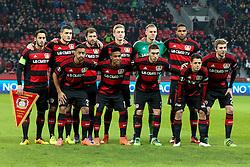 "17.03.2016, BayArena, Leverkusen, GER, UEFA EL, Bayer 04 Leverkusen vs Villarreal CF, Achtelfinale, Rueckspiel, im Bild v.o.l.n.u.r.: Hakan Calhanoglu (#10, Bayer 04 Leverkusen), Kyriakos Papadopoulos (#5, Bayer 04 Leverkusen), Admir Mehmedi (#14, Bayer 04 Leverkusen), Julian Brandt (#19, Bayer 04 Leverkusen), Bernd Leno (#1, Torwart, Bayer 04 Leverkusen), Jonathan Tah (#4, Bayer 04 Leverkusen), Karim Bellarabi (#38, Bayer 04 Leverkusen), Wendell (#18, Bayer 04 Leverkusen), Marlon Frey (#37, Bayer 04 Leverkusen), Javier ""Chicharito"" Hernandez (#7, Bayer 04 Leverkusen) und Christoph Kramer (#23, Bayer 04 Leverkusen) // during the UEFA Europa League Round of 16, 2nd Leg match between Bayer 04 Leverkusen and Villarreal CFl at the BayArena in Leverkusen, Germany on 2016/03/17. EXPA Pictures © 2016, PhotoCredit: EXPA/ Eibner-Pressefoto/ Deutzmann<br /> <br /> *****ATTENTION - OUT of GER*****"