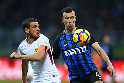 January 21, 2018 - Milan, Italy - Alessandro Florenzi of Roma and Ivan Perisic of Internazionale  during the Serie A match between FC Internazionale and AS Roma at Stadio Giuseppe Meazza on January 21, 2018 in Milan, Italy. (Credit Image: © Matteo Ciambelli/NurPhoto via ZUMA Press)
