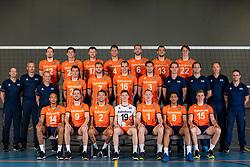 21-05-2019 NED: Team shoot Dutch volleyball team men, Arnhem<br /> Teamfoto met: <br /> Daan van Haarlem #1 of Netherlands<br /> Wessel Keemink #2 of Netherlands<br /> Thijs ter Horst #4 of Netherlands<br /> Gijs Jorna #7 of Netherlands<br /> Fabian Plak #8 of Netherlands<br /> Tim Smit #12 of Netherlands<br /> Niels de Vries #13 of Netherlands<br /> Nimir Abdelaziz #14 of Netherlands<br /> Wouter ter Maat #16 of Netherlands<br /> Michaël Parkinson #17 of Netherlands<br /> Robbert Andringa #18 of Netherlands<br /> Just Dronkers #19 of Netherlands<br /> Stijn Held #20 of Netherlands<br /> Coach Roberto Piazza, Assistent coach Henk-Jan Held, Arts Rob Vesters, Fysio Alewijn Huisman<br /> Videoscout Willem de Wit<br /> Teammanager Patrick de Reus<br /> Condition coach Max Giaccardi
