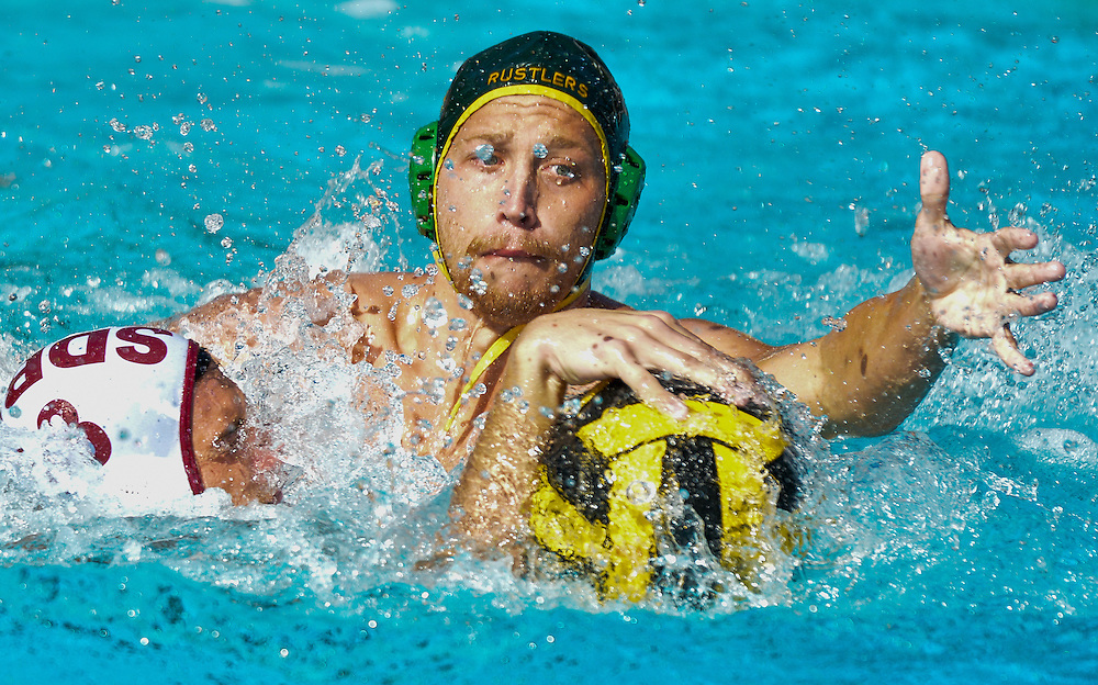 lessandro Valania of Golden West College tries to steal the ball back from Keeon Jabbour of Saddleback College — Orange Empire Conference Water Polo Championships. November 4th, 2016 — Golden West College vs Saddleback College — Men's Waterpolo — Saddleback College, Mission Viejo, CA<br /> <br /> Photo by Austin Song / Sports Shooter Academy