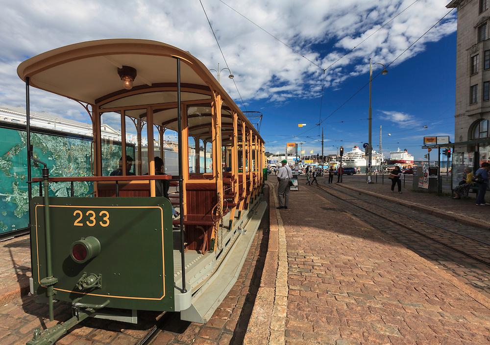 Vintage tram in Helsinki, Finland. The Helsinki system is one of the oldest electrified tram networks in the world.