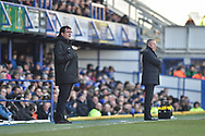 Portsmouth Manager, Kenny Jackett and Blackpool Manager, Gary Bowyer on the sidelines during the EFL Sky Bet League 1 match between Portsmouth and Blackpool at Fratton Park, Portsmouth, England on 24 February 2018. Picture by Adam Rivers.