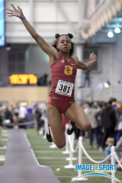 Feb 23, 2018; Seattle, WA, USA; Courtney Corrin of Southern California places third in the women's long jump at 19-11 1/2 (6.08m) during the MPSF Indoor Championships at Dempsey Indoor.