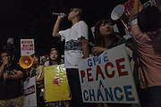 Protest by SEALDs activists outside the Japanese Diet building, Nagatacho, Tokyo, Japan. Friday July 10th 2015 SEALDs (Student Emergency Action for Liberal Democracy) is a student activist group started in 2014