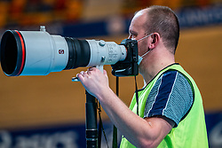 Phoyographer Andre Weening in action on 60 meter hurdles during the Dutch Athletics Championships on 14 February 2021 in Apeldoorn