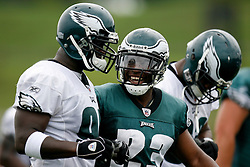 Bethlehem, PA - August 2nd 2008 - Running Back Ryan Moats has a laugh with a teamate during the Philadelphia Eagles Training Camp at Lehigh University (Photo by Brian Garfinkel)