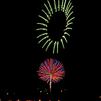 Fireworks explode over Bozeman, Montana on the Fourth of July.