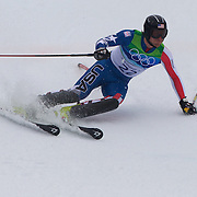 Winter Olympics, Vancouver, 2010.Jimmy Cochran, USA,  in action during the Alpine Skiing, Men's Slalom at Whistler Creekside, Whistler, during the Vancouver Winter Olympics. 27th February 2010. Photo Tim Clayton